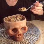 Eating with this terrifying human skull bowl is an unforgettable experience