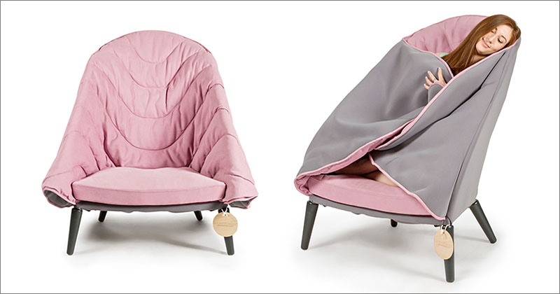 ... to wrap themselves up and get a comfortable and relaxing rest with the help of an additional pink quilted thick blanket at the sides of the chair. & New Chair design that can embrace you | Vuing.com