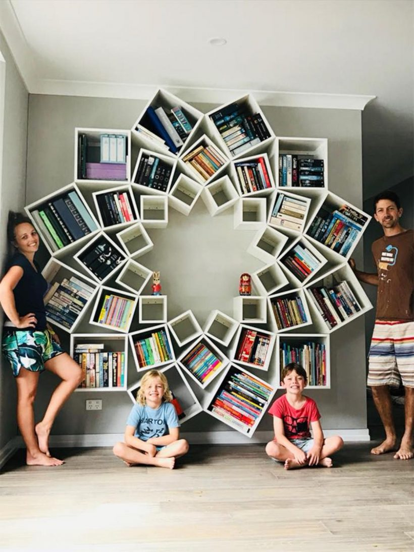 The Geometric Bookshelf Took The Young Couple 16 Hours To Assemble, And The  Result Is Very Satisfying.