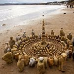 Ephemeral cairns and mandalas created out of natural materials