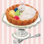 Adorable cat bed shaped as a fruit tart