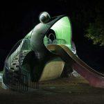 Enchanting and strange children playgrounds captured at night