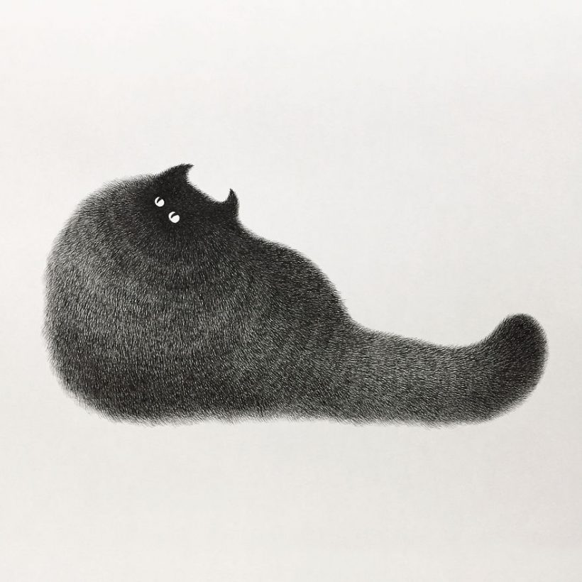 Fluffy Cat Illustrations Crafted With Just Ink Vuing Com
